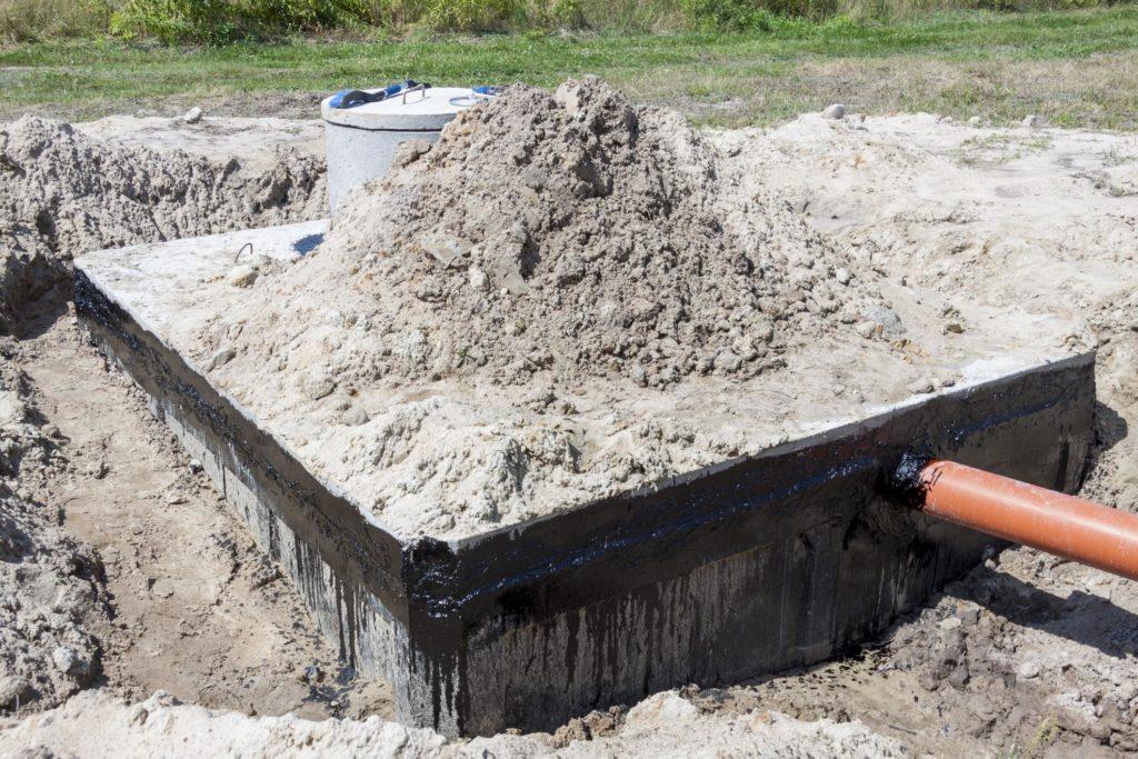 under construction concrete septic