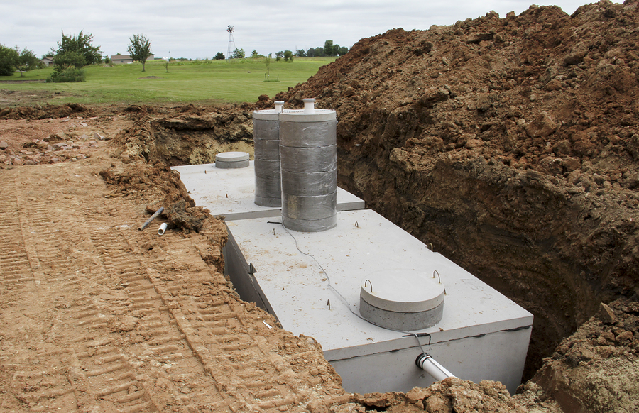 concrete septic holding tanks in the ground